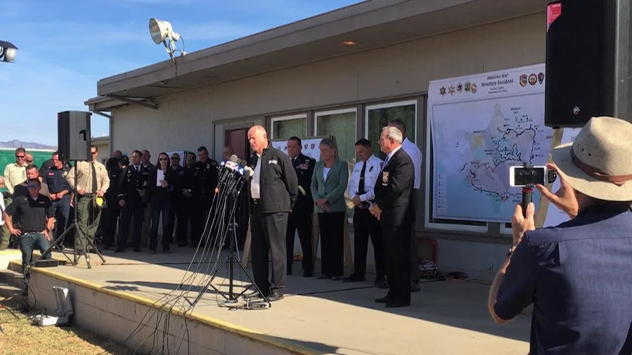 Gov. Jerry Brown responds to questions at a news conference after surveying the Woolsey and Hill fires in Ventura County.