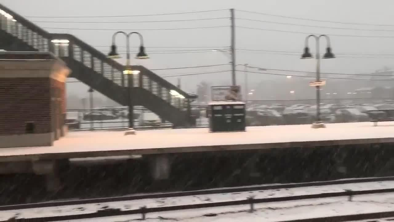 Snow is coming down hard and sticking at the Tarrytown Metro-North train station.
