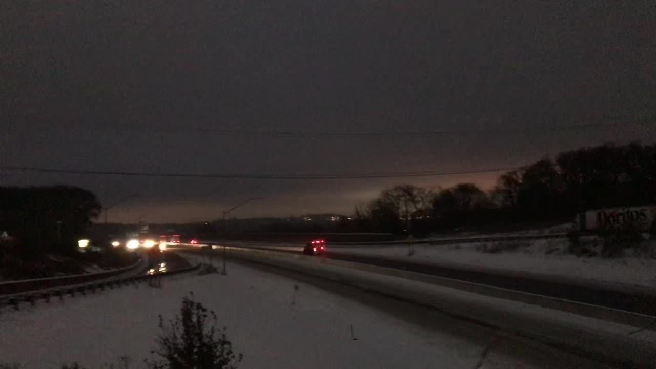 Interstate 83 traffic is still moving slow on Thursday evening after snow, sleet and freezing rain made for treacherous conditions.