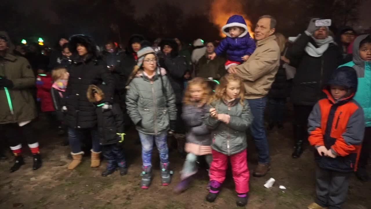Snow, slush, Santa, a bonfire, music and fireworks. What else do you need? Lightfest is open in Hines Park. Five bucks per car. Cash.