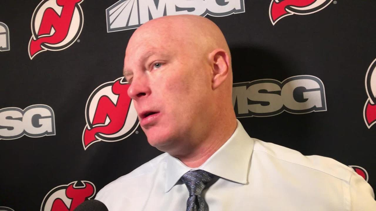 Devils' coach John Hynes talks about Joey Anderson's first goal and how the defensemen stepped up against the Flyers.