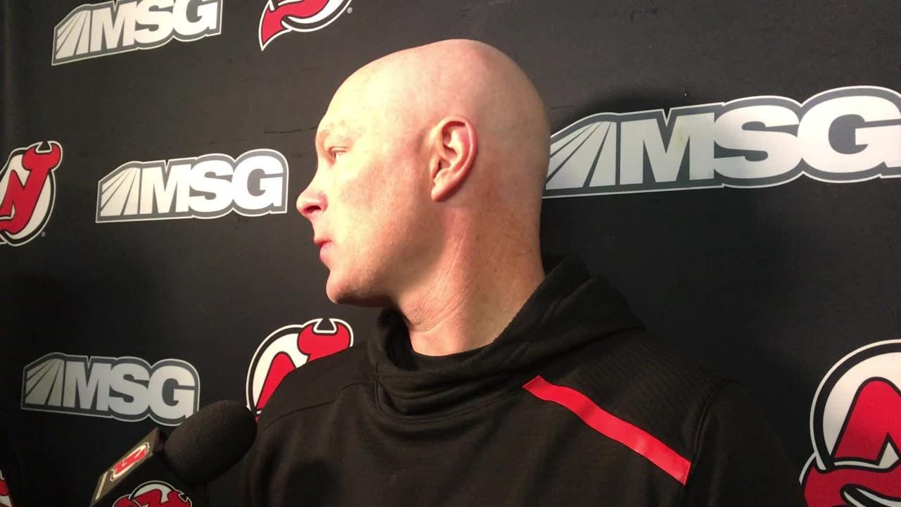Hynes talks about practicing ahead of Saturday's game against the Detroit Red Wings.