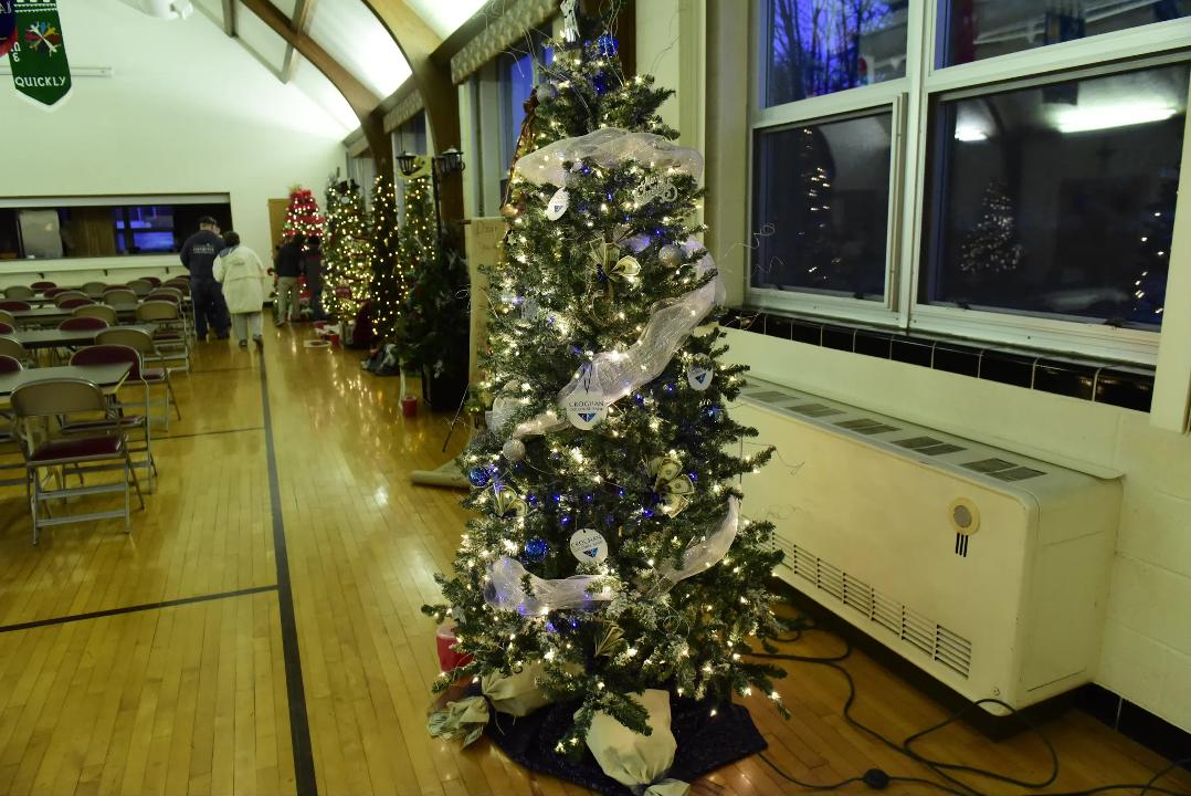 Christmas Tree Lane at St. Paul Lutheran Church displayed 15 Christmas trees decorated for Winesburg Christmas Weekend. Eight were decorated by the community and 7 were decorated by financial institutions.