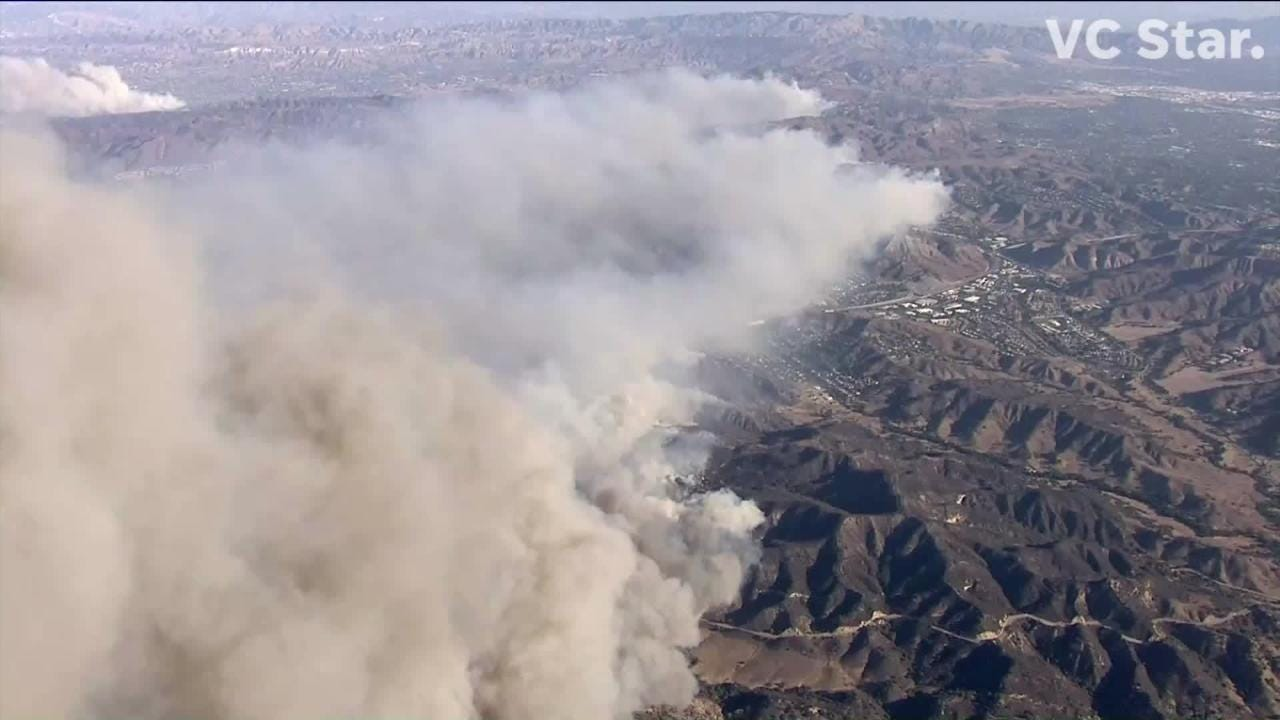 This Nov. 8, 2018, video shows the huge smoke plume from the Woolsey Fire.