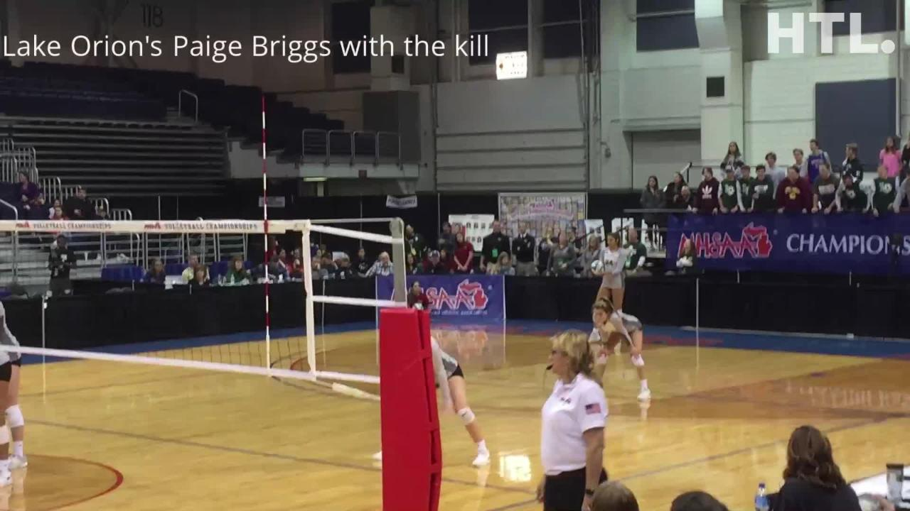 Paige Briggs racked up 43 kills in Lake Orion's five-set Division 1 semifinal win over top-ranked Farmington Hills Mercy.