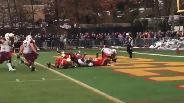 AJ Longo recovered a fumble in the end zone to put Bergen Catholic up 35-17.