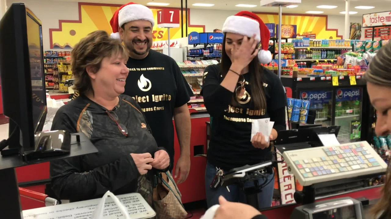 Encompass Health sponsored the event where multiple unsuspecting customers had their groceries paid for in an effort to give back to the community.