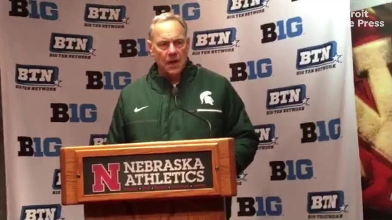 Mark Dantonio proud of his team's spirit, competitiveness, but says dropped passes culprit in Michigan State's 9-6 loss to Nebraska, Nov. 17, 2018.