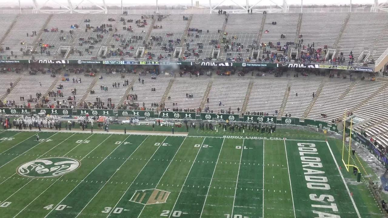 Timelapse of first snow game at Canvas Stadium as the CSU football team took on Utah State.
