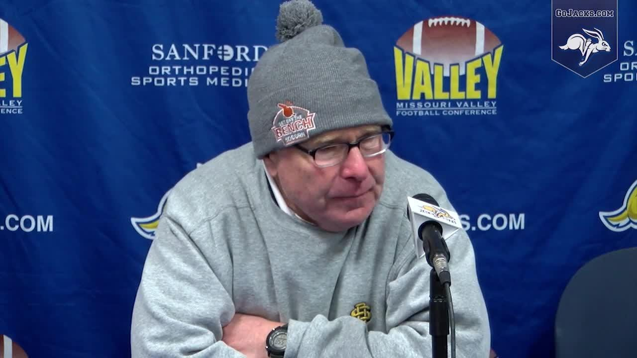 SDSU coach John Stiegelemeier talks to the media after the Jacks' 49-27 win over USD.