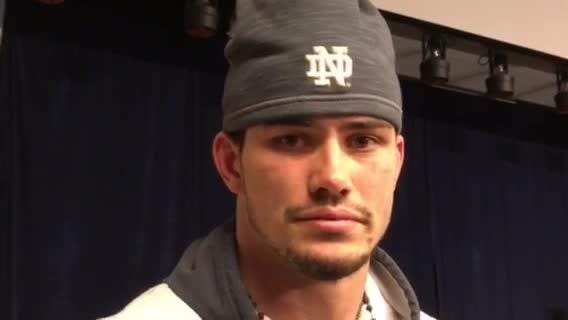 Notre Dame linebacker Drue Tranquill on his tackle that knocked Syracuse quarterback Eric Dungey out of a 36-3 Irish win