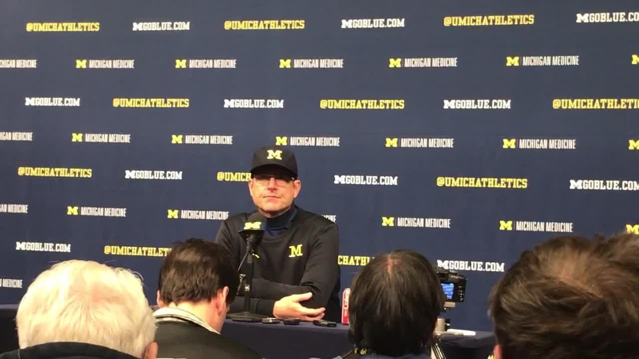 Jim Harbaugh recaps Michigan's 31-20 win over Indiana, says Wolverines have been in 'playoff mode.' Recorded Nov. 17, 2018.