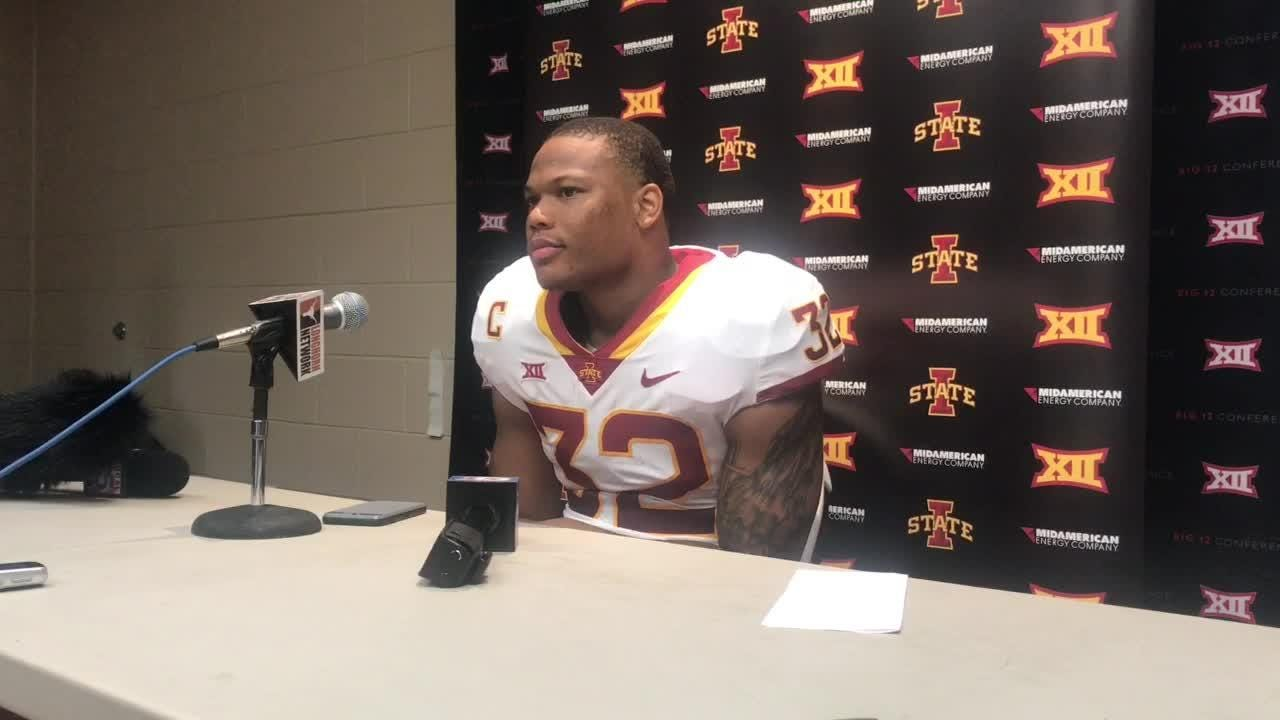 Iowa State running back David Montgomery talks about missing the first half of Saturday's game against Texas.