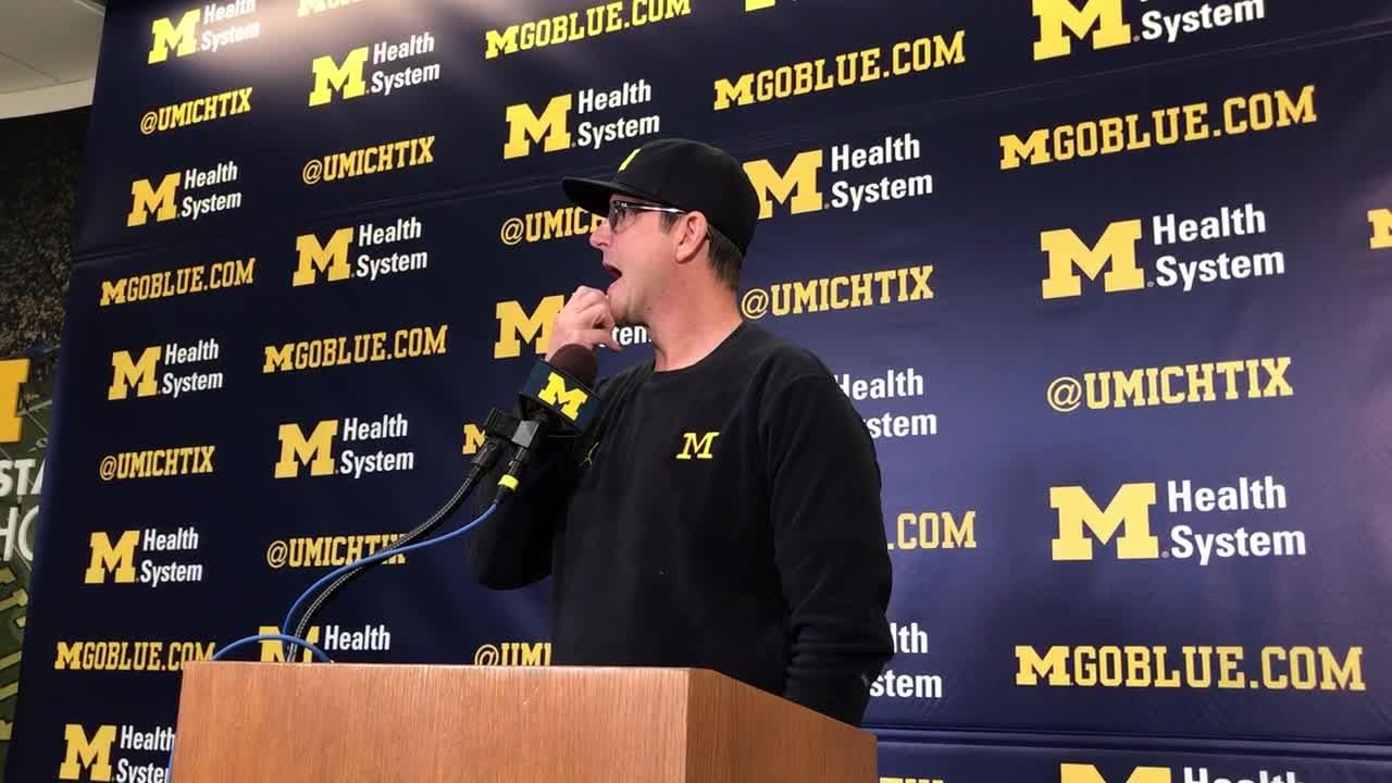 Michigan football coach Jim Harbaugh speaks to the media on Monday, Nov. 19, 2018, in Ann Arbor  about the upcoming Ohio State game.