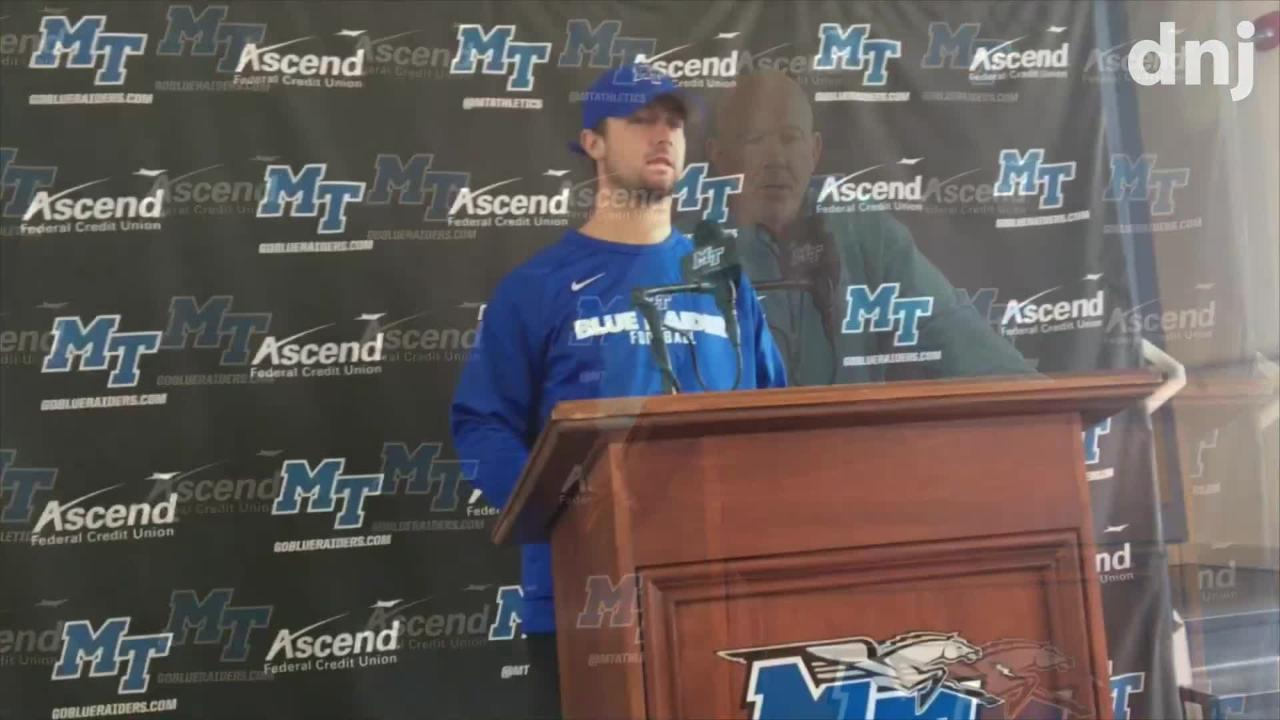 MTSU coach Rick Stockstill and players Brent Stockstill and Darius Harris preview the Blue Raiders game against UAB