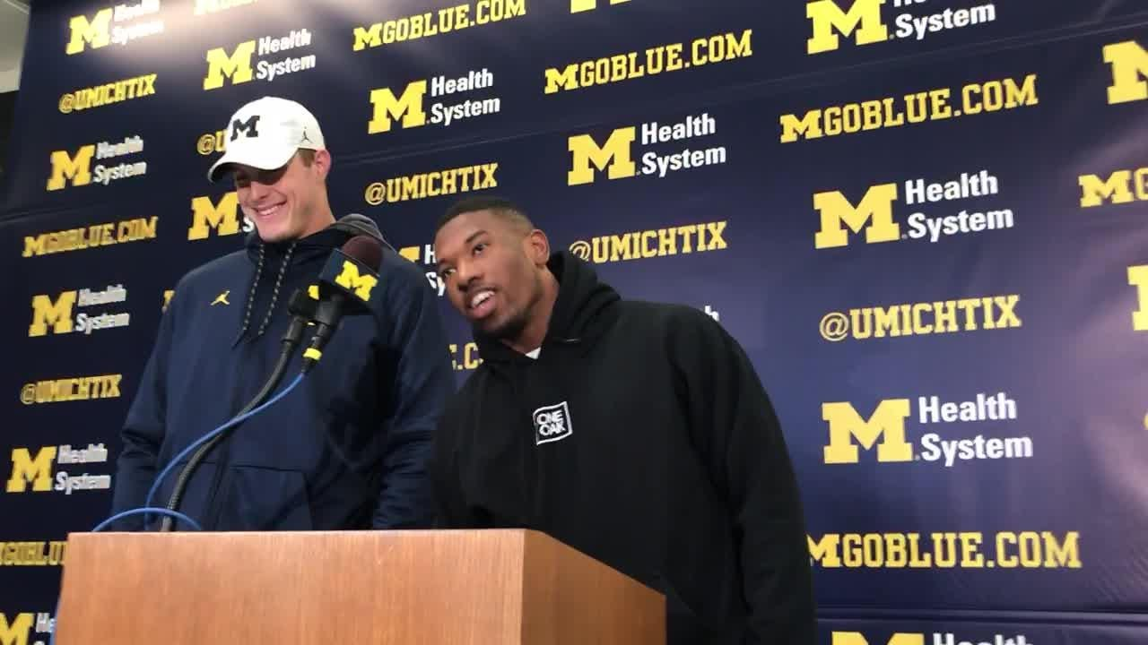 Michigan running back Karan Higdon speaks to the media on Monday, Nov. 19, 2018, in Ann Arbor in preparation for the game against Ohio State.