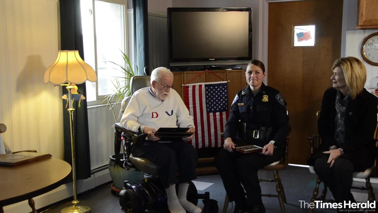 Family members, politicians and members of the Port Huron Police Department gathered Monday, Nov. 19, 2018 to recognize William Turney, a 92-year-old World War II veteran, and to award him with a plaque and naming a scholarship after him.