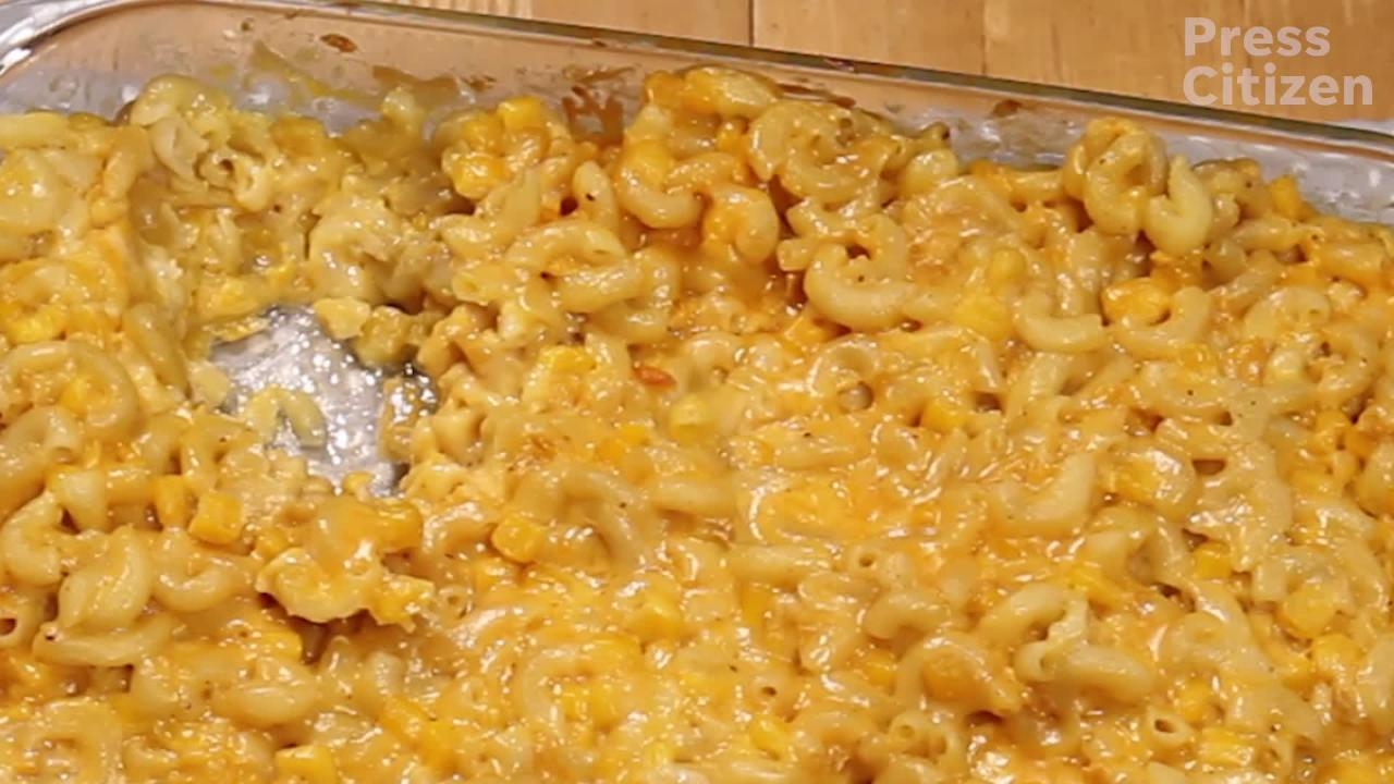 It's a cheesey-sweet-mac n' corn dish. There's never been a perfect recipe, and the temperature we cook it at always seems to fluctuate based on memories of the previous attempt.
