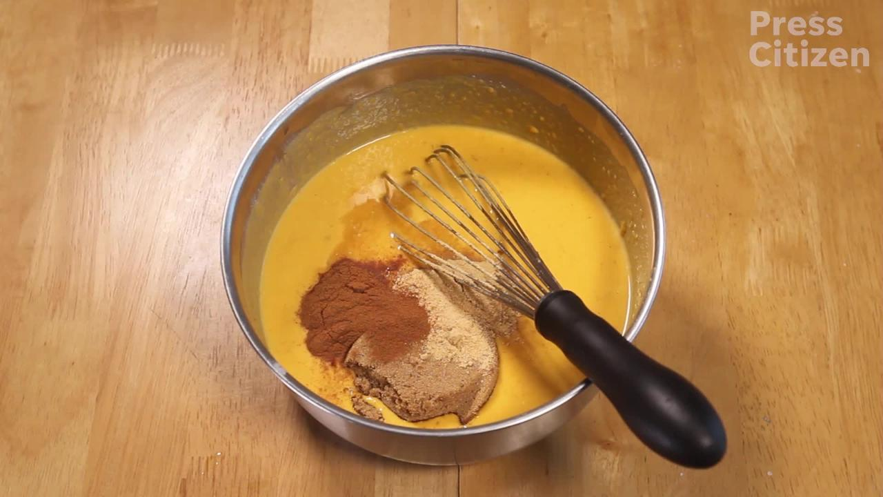 See a step by step instructional video on how to make a pumpkin-less pumpkin pie.