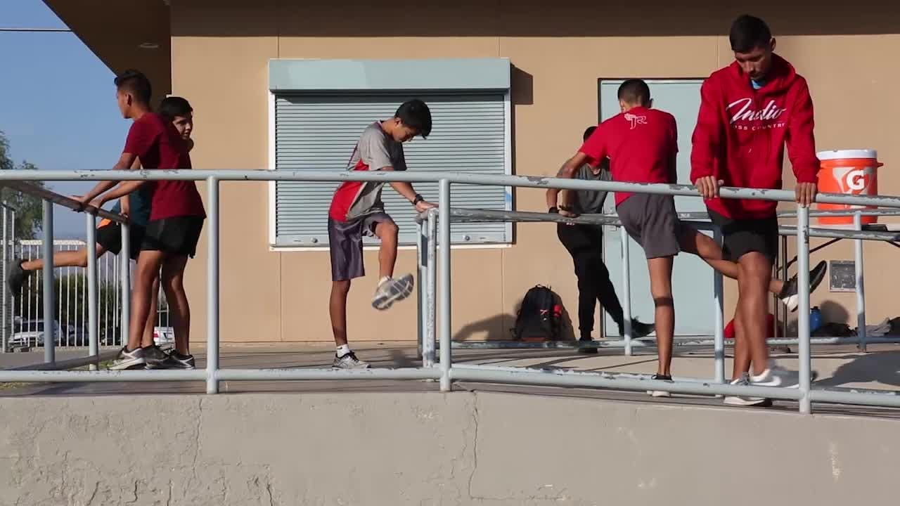 The Indio High School boys cross country team trains for state meet