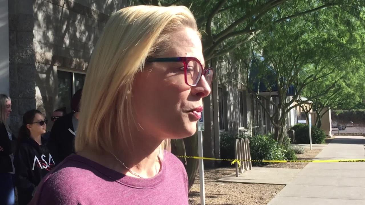 On the day before Thanksgiving, Kyrsten Sinema chats with reporters about the work she faces in the Senate.