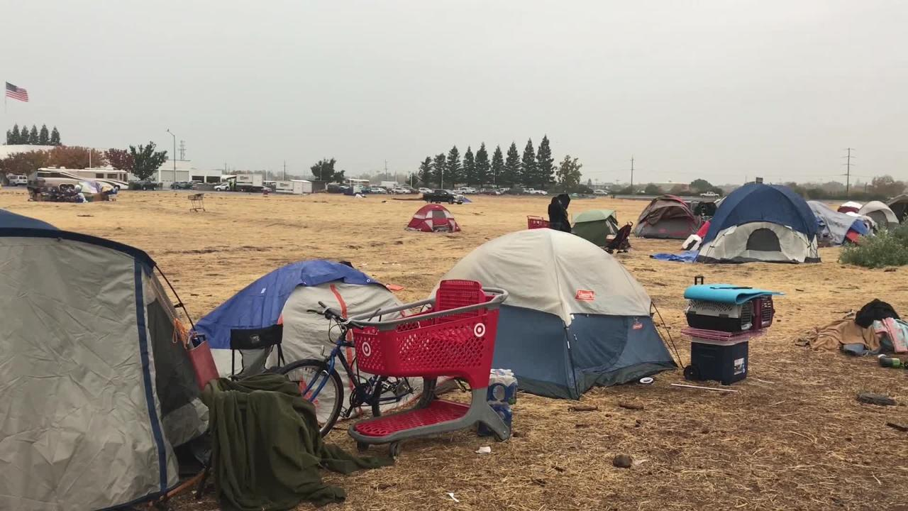 About 100 Camp Fire evacuees were staying at 'tent city' in Chcio Wednesday  despite the rain and cold winds.