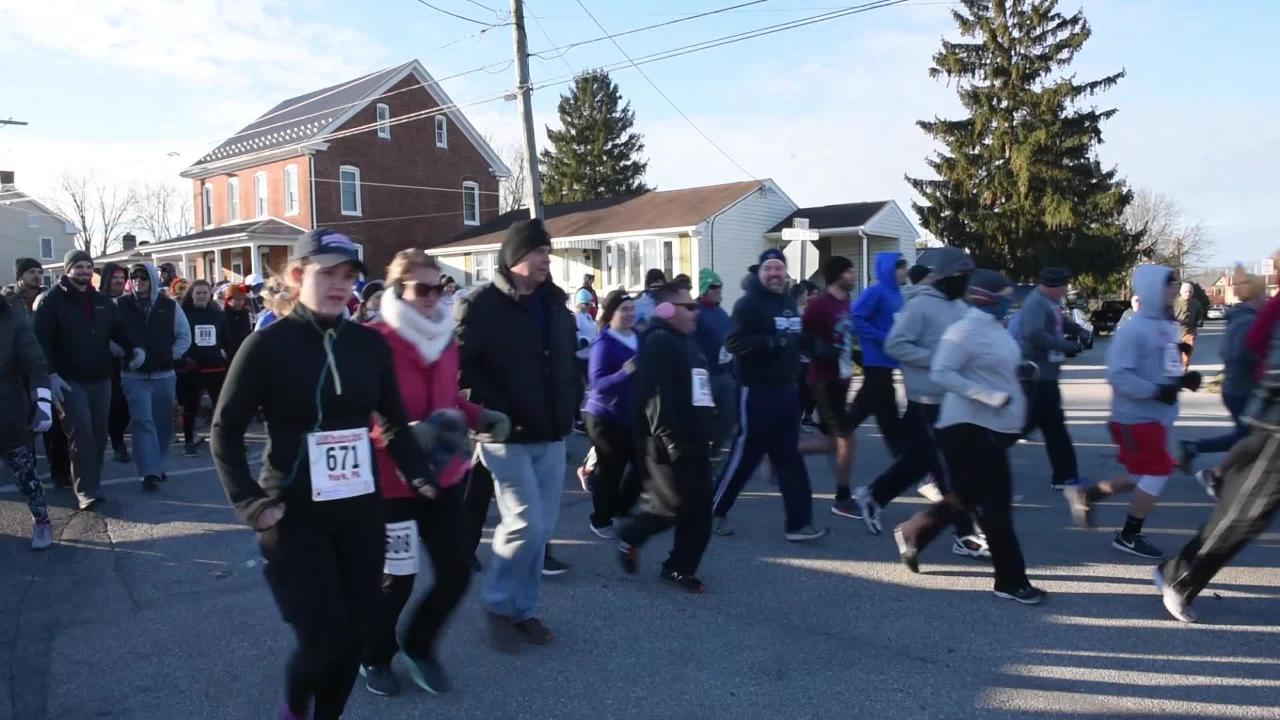 Almost 500 people took to the cold Thanksgiving morning to participate in the annual Turkey Trot 5K at New Oxford Elementary on Nov. 22.