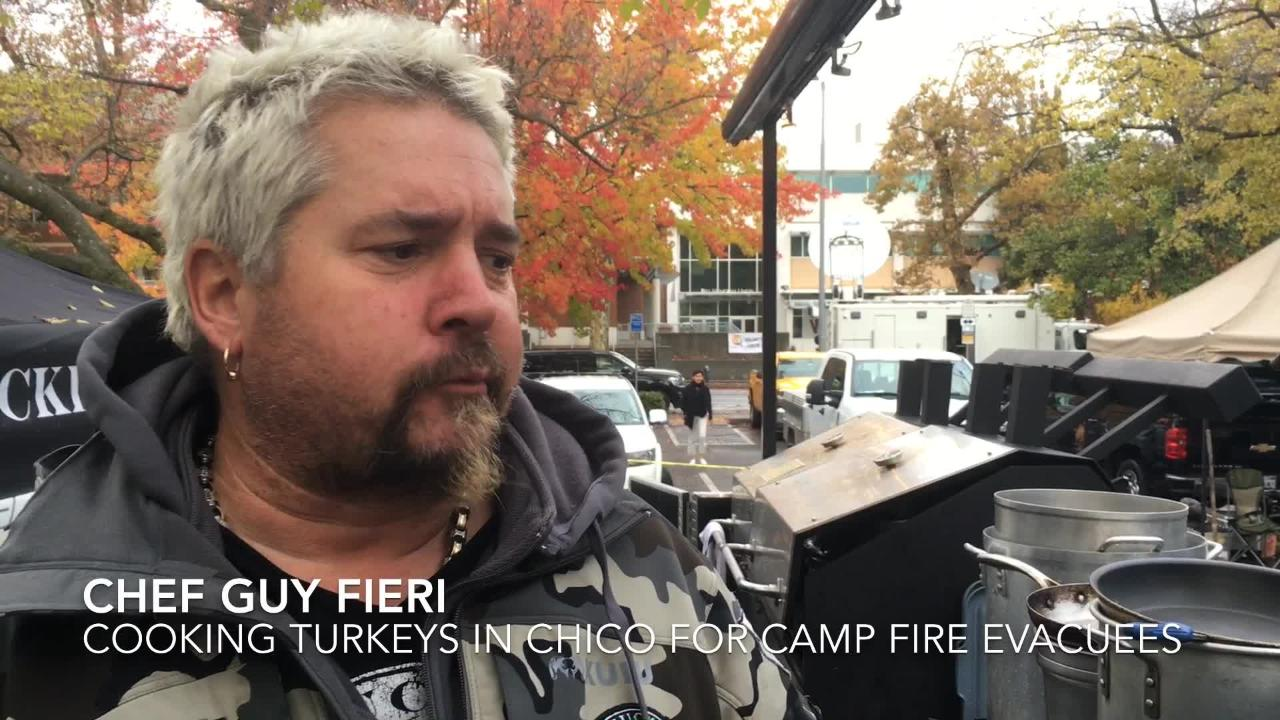 Guy Fieri provides his own brand of Thanksgiving disaster relief for Camp Fire evacuees in Chico, Calif. on Thursday, Nov. 22, 2018. He shares a turkey recipe, too.
