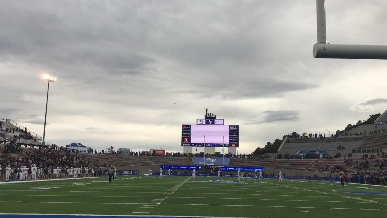 Watch flyover pregame and parachute drop at Air Force Academy before CSU football game at Air Force.