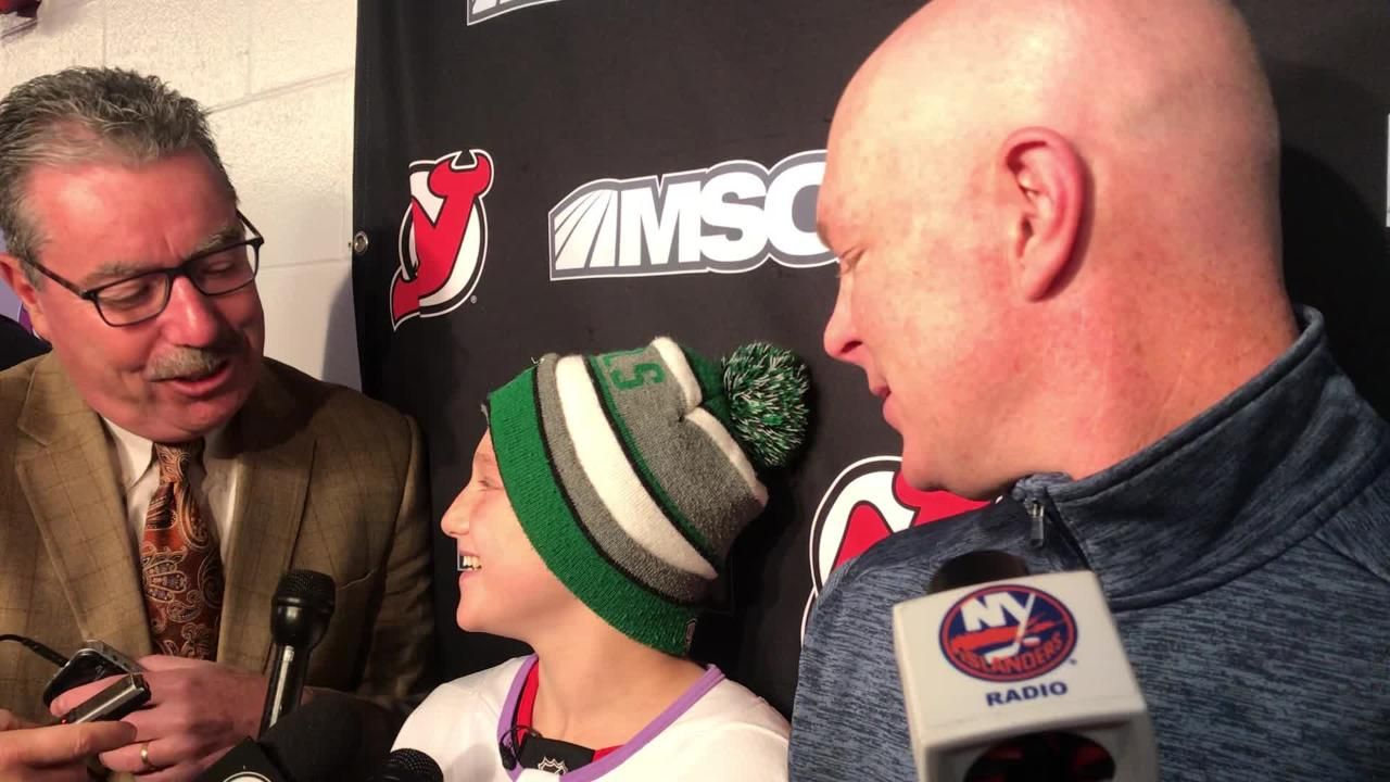timeless design 1731c 73fdd WATCH: NJ Devils coach John Hynes & Hockey Fights Cancer guest Englewood's  Bennett Burgida