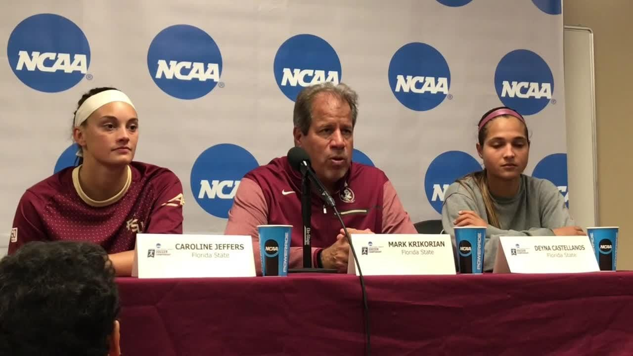 FSU coach Mark Krikorian and players Deyna Castellanos and Caroline Jeffers speak after their 1-0 win over PSU.