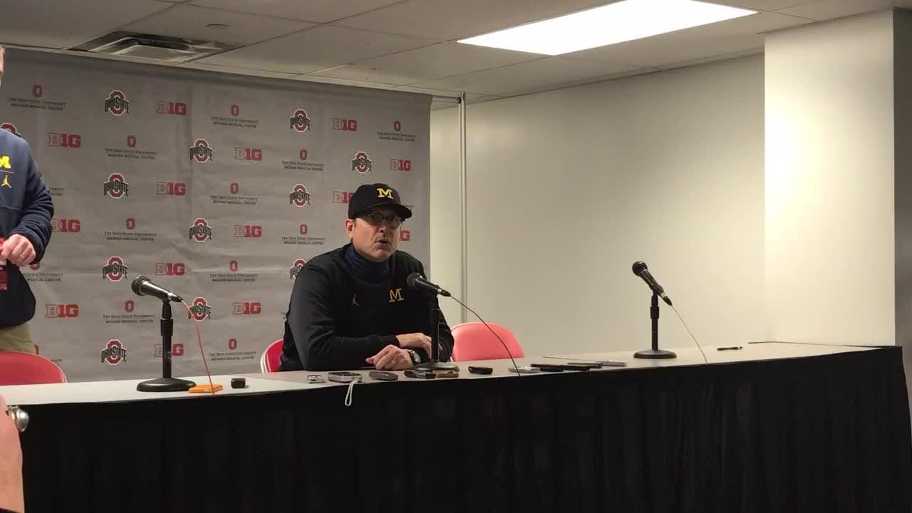 Jim Harbaugh says Ohio State hurt Michigan with a lot of 'speed plays,' and 'we take responsibility' for the 62-39 debacle, Nov. 24, 2018.