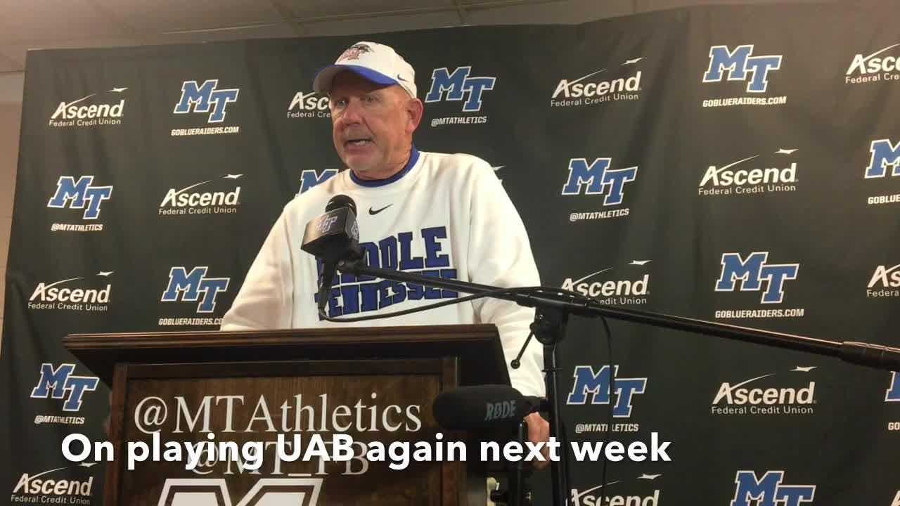 MTSU coach Rick Stockstill gives his thoughts following the Blue Raiders' 27-3 win over UAB on Nov. 24, 2018.