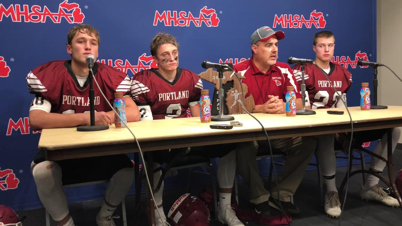 Portland coach John Novara talks about his team's performance in Saturday's 42-7 Division 5 title game loss to Hudsonville Unity Christian.