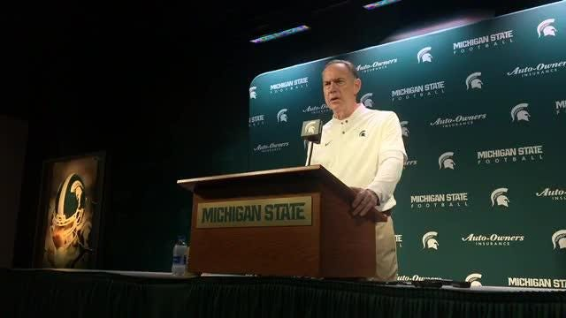 Mark Dantonio explains another horrendous offensive performance, says 14-10 win over Rutgers was big for program and more, Nov. 24, 2018.