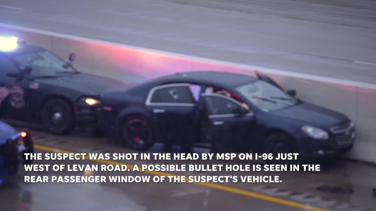 Man allegedly shoots wife at her work, flees, leads troopers on chase. The suspect is shot.