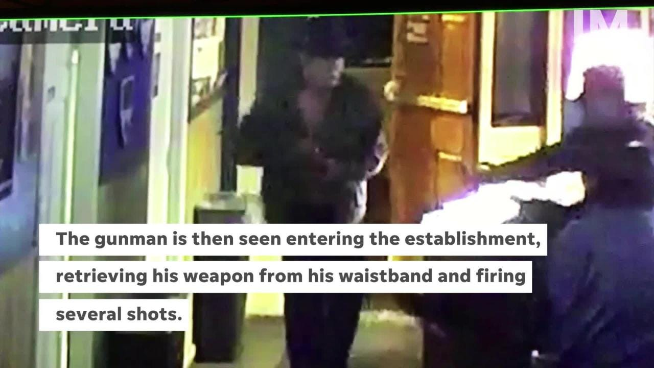 Simon's Bar & Grill released surveillance video footage showing gunman enter the bar and fire several shots inside and outside of the establishment.