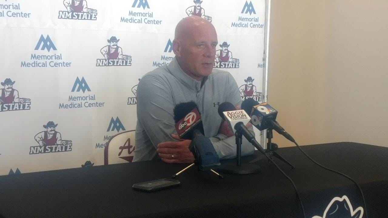 NMSU football coach Doug Martin's final press conference of the year