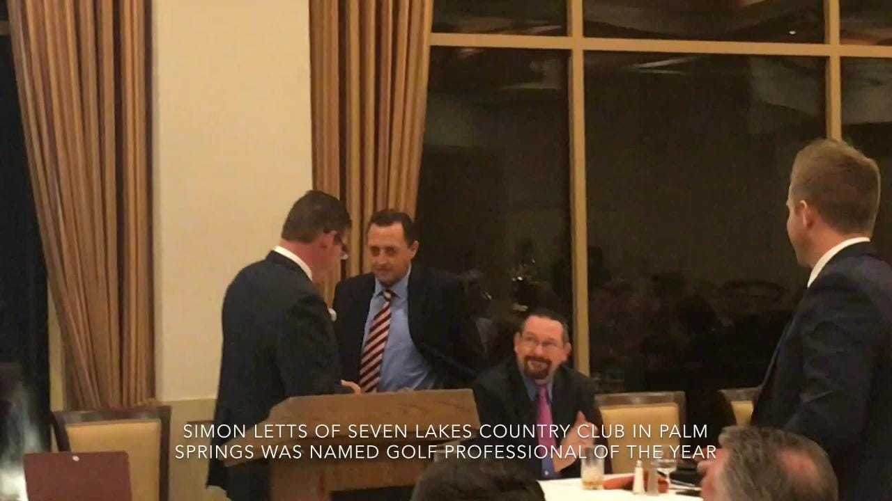 Simon Letts of Seven Lakes Country Club was named professional of the year at the Desert Chapter PGA annual awards dinner