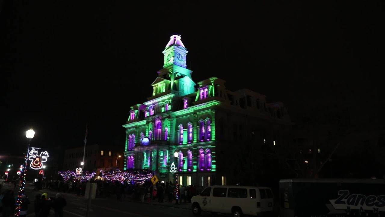 Courthouse Lights Lit for the Miracle on Main Street.