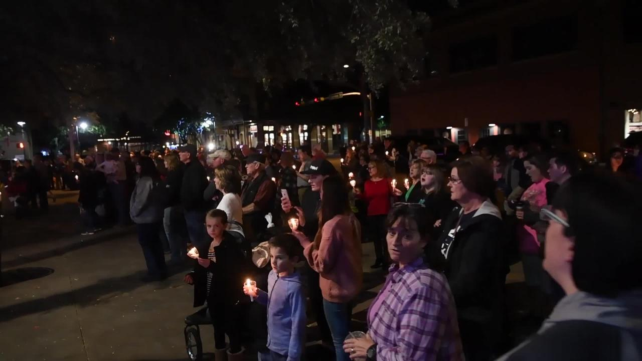 """Choirs try to set a world record for the number of choirs singing """"Joy to the World"""" at the same time in downtown Abilene on Wednesday, Nov. 28, 2018."""