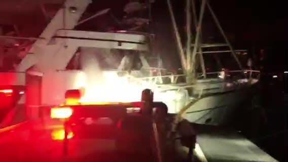 Crews respond to a fire at the Riverside Marina in Marco Island Thursday morning.
