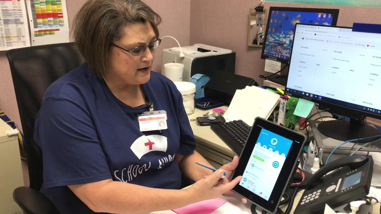 Vinton Elementary's Nurse Kelly Bol applied to be one of 500 schools receiving a new smart thermometer that tracks the spread of illness.