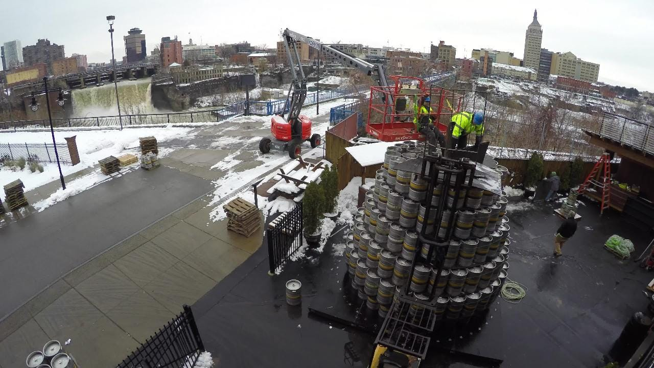 A toast to the 520 kegs that make up this year's Genesee Brewery's keg tree.