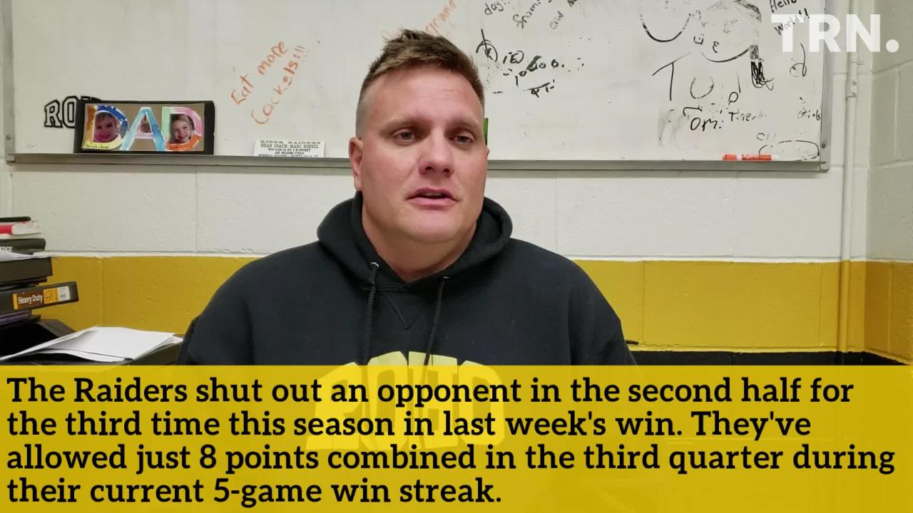 The Rider Raiders have a rematch with district foe Canyon Randall on Friday. Hear coach Marc Bindel break it down.