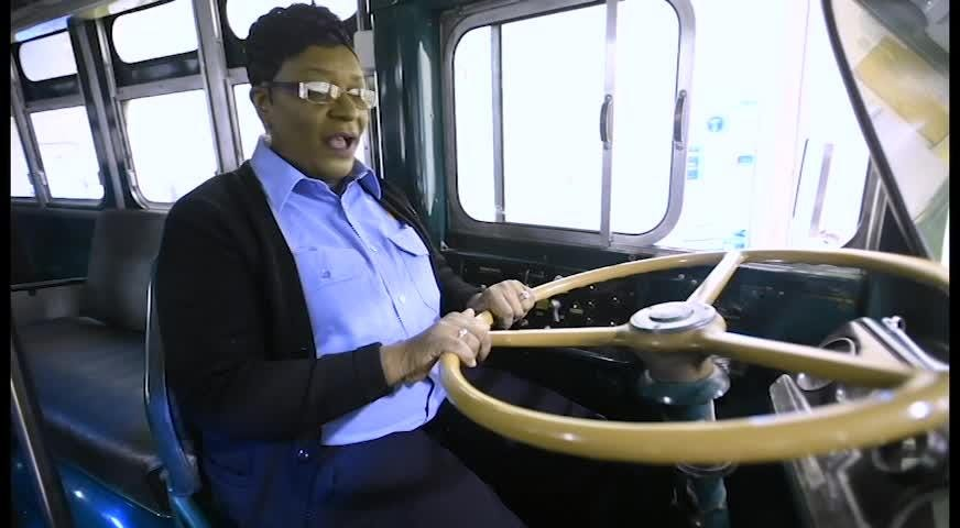 Brenda White talks about driving the historic Cleveland Avenue Bus for Montgomery Area Transit in Montgomery, Ala., on Thursday November 29, 2018.