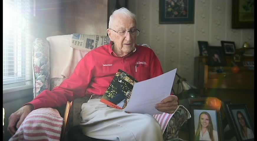Chuck Kavalec gets some recognition for turning 100 on Dec. 5 by the Denver Broncos.