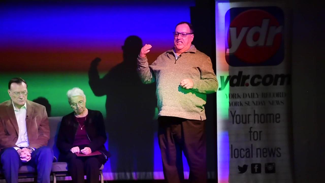 Jeri Jones tells the story behind two historical York photographs during YDR's History Night at the Belmont Theatre, November 28, 2018.