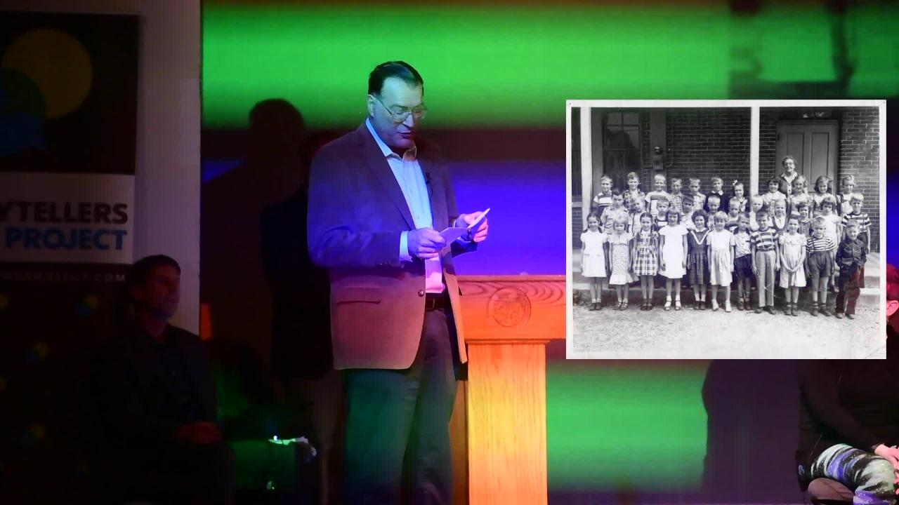 Stephen H. Smith tells the story behind two historical York photographs during YDR's History Night at the Belmont Theatre, November 28, 2018.
