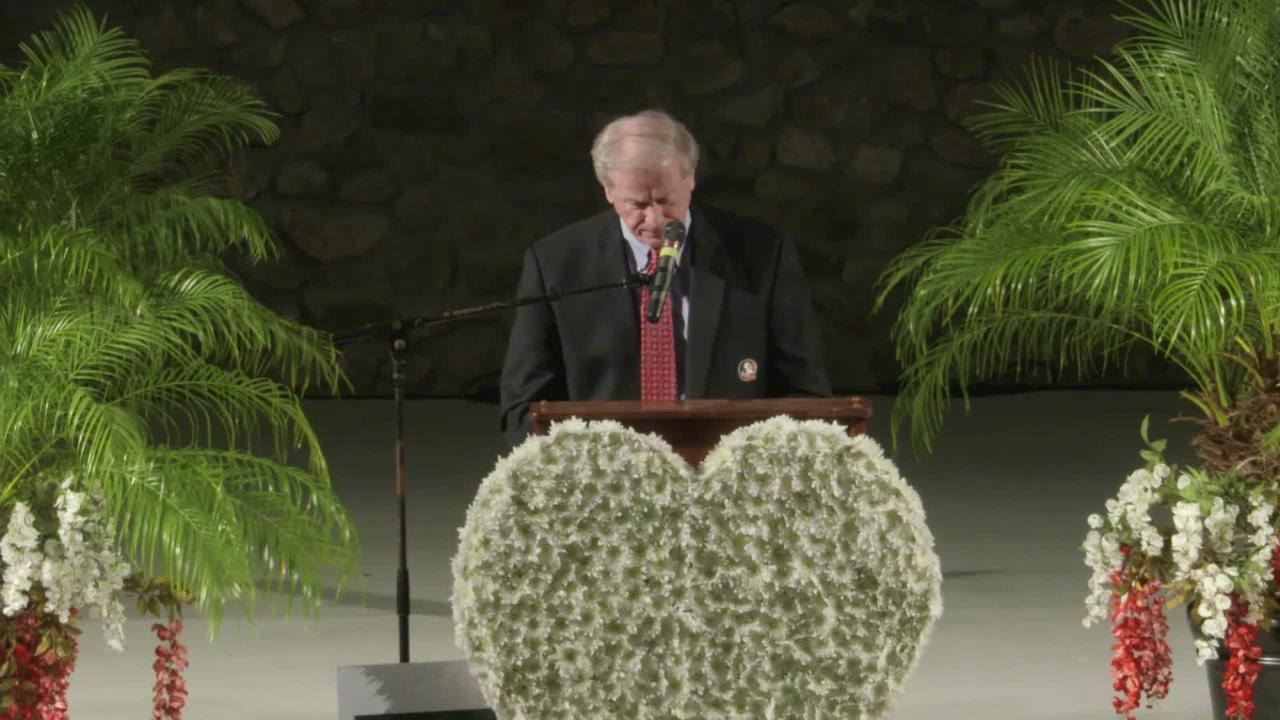 FSU President John Thrasher speaks at vigil for victims of yoga studio shooting